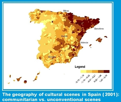 The geography of cultural scenes in Spain: communitarian vs. unconventional scenes